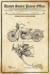 US Patent Office - Design for A Cycle Support - Entwurf für ein Fahhrrad Ständer - Ziska, Harley, Wisconsin 1928 - Design No 1.675.551 - Blechschild