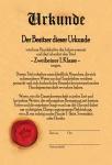 Urkunde - zweibeiner 1. Klasse blechschild