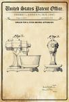 US Patent Office - Design for A Food mixing Apparatus - Entwurf für ein Lebensmittelmischapparat - Johnston, Ohio, 1935 - Design No 95.352 - Blechschild