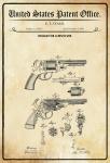 US Patent Office - Design for A Revolver - Entwurf für einen Revolver - Starr, 1860 - Design No 30.843 - Blechschild