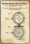US Patent Office - Design for A Waffle Iron - Entwurf für eine Waffeleisen - Harker, Wilkins, 1883 - Design No 277.422 - Blechschild
