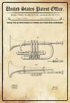 US Patent Office - Design for an Improvement in Cornet and Wind Instruments - Entwurf für einen Verbesserung bei Kornetts und anderen Blasinstrumenten - Fiske - 1866 - Design No 59204 - Blechschild