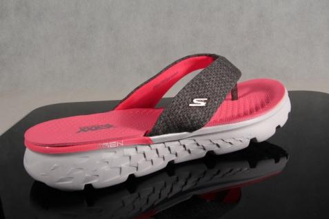 Skechers Pantolette Damen Zehenstegpantolette Pantolette Skechers Pantoletten grau/pink 14656 NEU! f3e3c9
