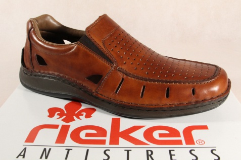 Rieker Herren Slipper Sneakers Halbschuhe braun, Echtleder 05276 NEU