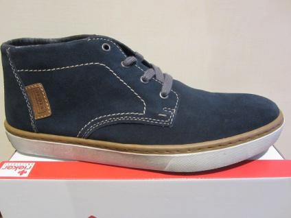 Rieker Stiefel, Boots, Schnürschuh Schnürstiefel blau, Karofutter, Leder NEU