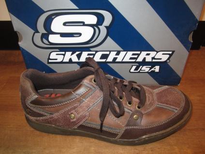 Skechers Herren Schnürschuh Sneaker braun, Wechselfußbett, Echtleder 61584 NEU!