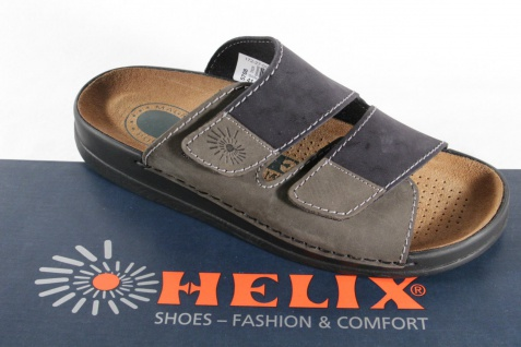 Helix Herren Pantoletten Clogs Pantolette Pantoffel schwarz/grau 54131 Leder NEU - Vorschau 4