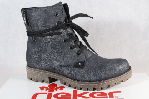 Rieker Damen Stiefel Stiefeletten Schnürstiefel Boots blau/grau 785G9 NEU!