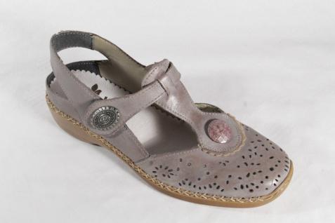 Rieker Damen Lederinnensohle, Slipper/ Sling/ Sandale, weiche Lederinnensohle, Damen grau, NEU ec2653
