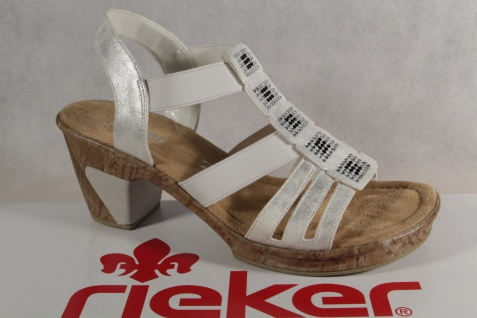 Rieker Damen Sandalen Innensohle, Sandaletten weiß , weiche Innensohle, Sandalen 69761 NEU!! 6311c1