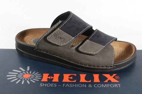 Helix Herren Pantoletten Clogs Pantolette Pantoffel schwarz/grau 54131 Leder NEU - Vorschau 1
