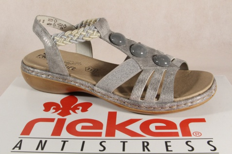 Rieker Damen Sandalen Fußbett Sandaletten silber MemoSoft Fußbett Sandalen Kunstleder NEU!! cc4498