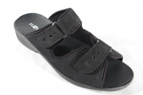Rohde Pantolette, schwarz, Klettverschluß, Klettverschluß, schwarz, Wechselfußbett NEU! ef5649