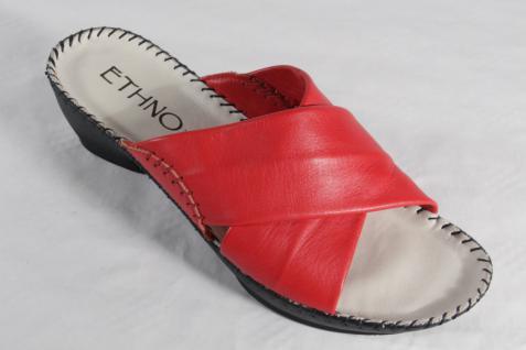 Florett Damen Pantolette Pantoffel Lederfußbett rot, Lederfußbett Pantoffel NEU! 601ae2