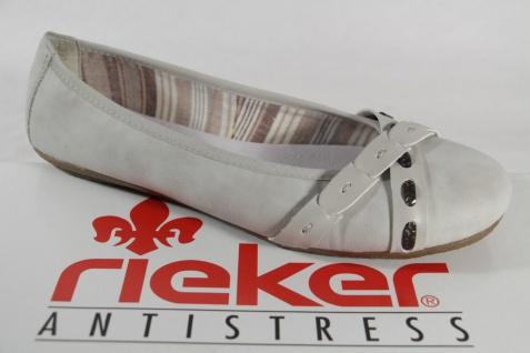 Rieker Ballerina Ballerina Rieker Slipper Halbschuhe hellgrau/weiß NEU 77593d