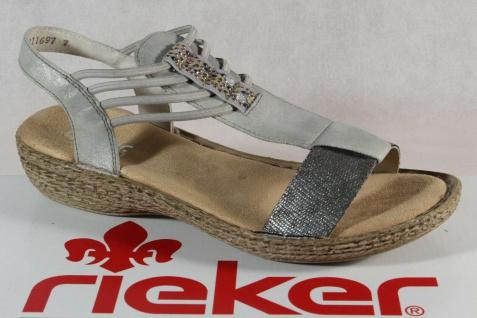 Rieker Damen Sandale Sandalette Sandaletten silber 658Y3 NEU!!