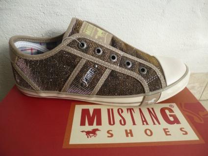 Mustang Slipper Sneakers Sportschuhe Halbschuhe Ballerina gold Stoff NEU