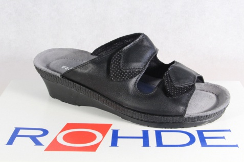 Rohde schwarz Pantolette Pantoletten Hausschuhe Pantoffel schwarz Rohde Weite G 1477 NEU! 9165fb
