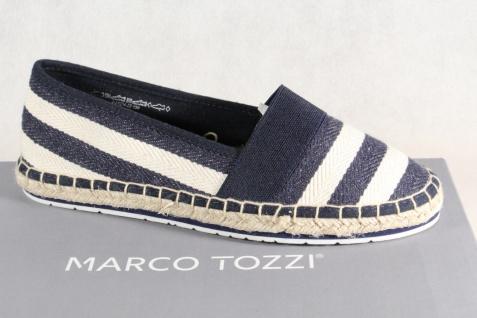 Marco Tozzi Damen Slipper Ballerinas Textil blau-weiß 24214 NEU!
