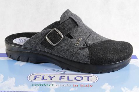 Fly Flot Herren Pantoffel, Filzstoff, grau/ schwarz, Fußbett 882016 NEU!!