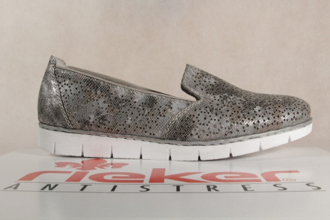 Rieker Damen grau Slipper Pumps Halbschuhe Ballerina grau Damen metallic, M1375 Neu!!! 70a4e0