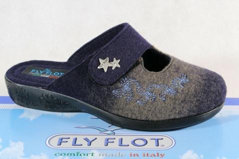 Fly Flot Damen Pantoffel Pantoletten Hausschuhe blau Neu!