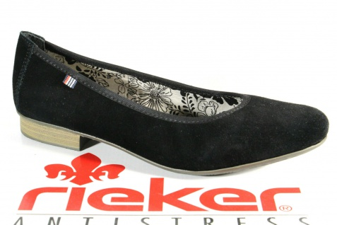 Rieker 51994 Ballerina Slipper Pumps schwarz Velourleder NEU!