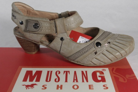 Mustang Sling Damen Sling Mustang Sandalen Sandaletten taupe NEU! a68651