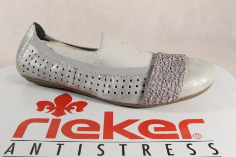 Rieker grau Ballerina 41487 Slipper grau Rieker weiche Lederinnensohle, Gummisohle NEU 6adb4d