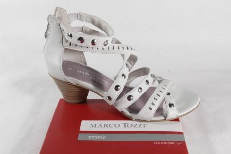 Marco Tozzi Echtleder, Damen Sandale, weiß/ silber, Echtleder, Tozzi Reißverschluß hinten NEU!! 95654c