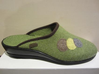 Florett Damen Fußbett Pantoffel, Hausschuhe Filz, grün, Fußbett Damen NEU!! f7a87d