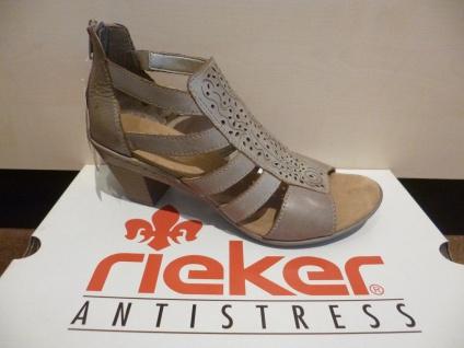 Rieker Damen Sandale Sandalette RV grau/beige, weiche Innensohle, RV Sandalette NEU!! 127e6b