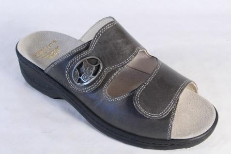 Fidelio Pantoffel Damen Pantoletten Pantoffel Fidelio grau Leder Lederfußbett NEU! 634492