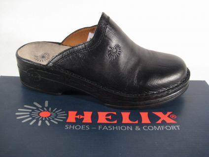 Helix Clogs Pantoletten Pantolette Hausschuhe schwarz Echt Leder 52011 NEU