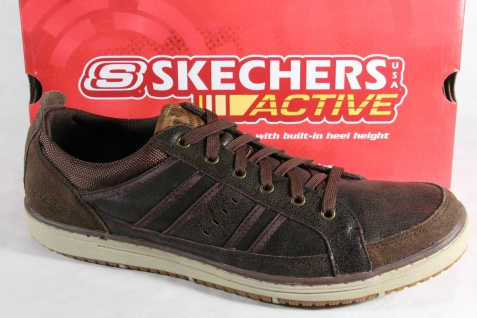 Skechers Herren Schnürschuhe Sneakers Halbschuhe braun Leder NEU! Beliebte Schuhe