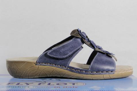 Fly Flot Damen NEU! Pantoletten Pantoffel Hausschuhe blau NEU! Damen 5a67b9