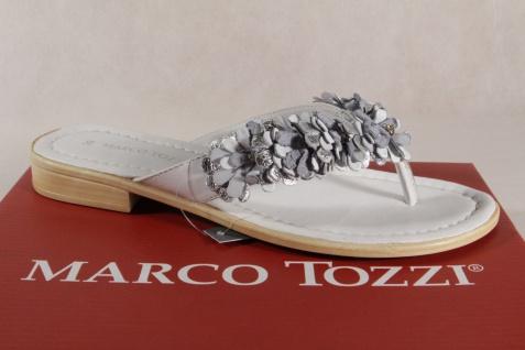 Marco Tozzi Zehenstegpantoletten Pantoletten Sandalen weiss silber 27110  NEU!!