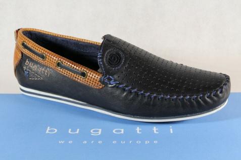 Bugatti Slipper Halbschuhe Sneaker Sportschuhe blau/ braun Echtleder 70466 NEU