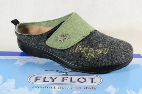 Fly Flot Damen Pantoffel Pantoletten Hausschuhe grau/ grün Neu!
