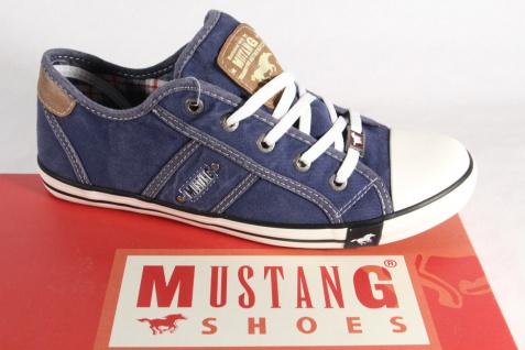 Mustang Sportschuhe Leinen Schnürschuhe Sneakers Halbschuhe Sportschuhe Mustang blau Stoff NEU 594f18