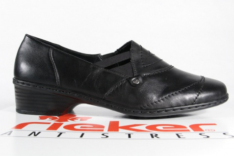 Rieker Slipper, 48260 Halbschuhe, Ballerina, schwarz Leder 48260 Slipper, NEU b68f6b