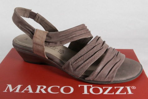 Marco Tozzi Damen Echtleder Sandalen Sandaletten Echtleder Damen pfeffer NEU!! Beliebte Schuhe cb0a26