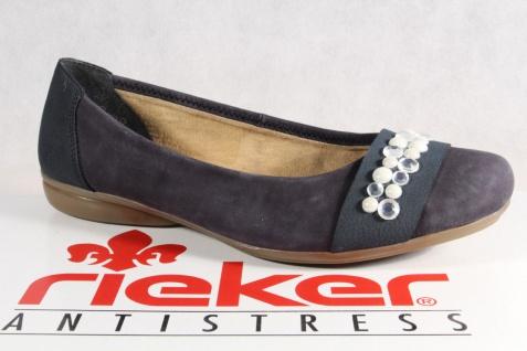 Rieker Ballerina Slipper L8361 blau, weiche Lederinnensohle, Gummisohle L8361 Slipper NEU d4da40