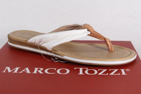 Marco Tozzi NEU! Zehenstegpantoletten Pantoletten Echtleder weiss/braun NEU! Tozzi e512b3