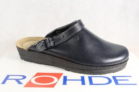Rohde / Beck Damen Clogs Pantoffel Hausschuhe Sabot Leder blau 143856 NEU!!