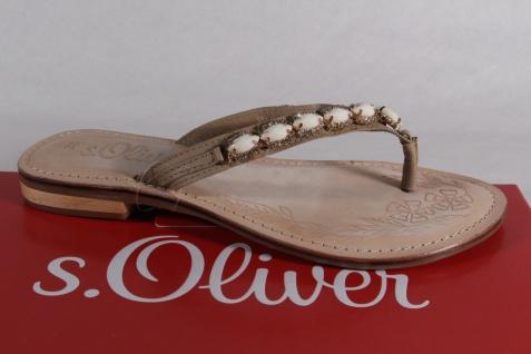 S.Oliver beige Damen Zehenstegpantoletten Pantoletten Echtleder beige S.Oliver NEU! 41d5e6