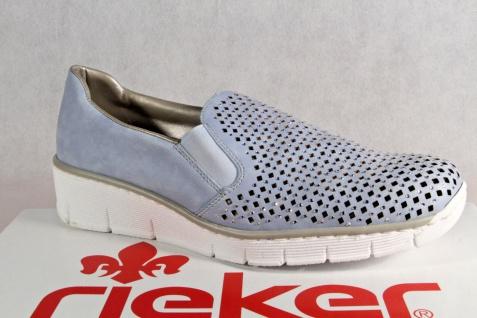Rieker Damen Slipper Sneakers Ballerina Halbschuhe Pumps blau 537A6 NEU!