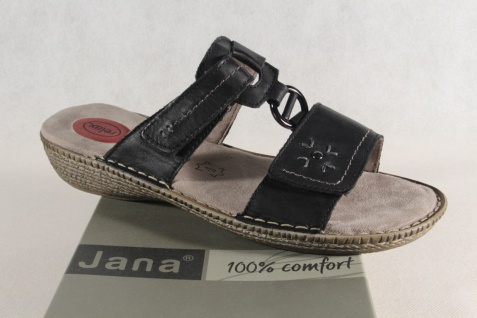 Jana Pantoletten Damen Pantolette Sandale Sandalette Pantoletten Jana schwarz Echtleder NEU! 9364c8