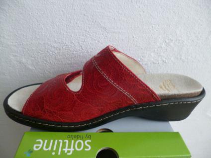 Fidelio Damen Pantolette Leder Pantoletten Pantoffel rot Leder Pantolette Lederfußbett NEU! 34aac8