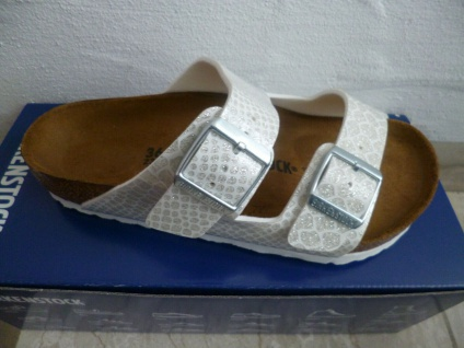 Birkenstock Arizona Pantolette Sandale Magic Snake White 1009126 NEU!